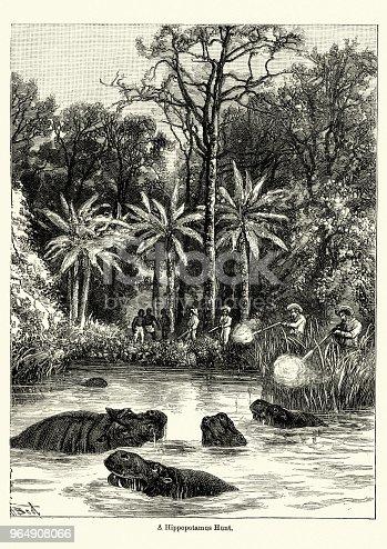 Vintage engraving of a Hippopotamus hunt in the Congo, Victoriian, 19th Century