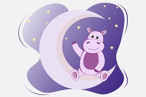 Hippopotamus on the moon at night sky, vector illustration,