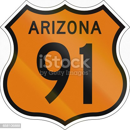 Historic Arizona Highway Route shield from 1958 used in the US.