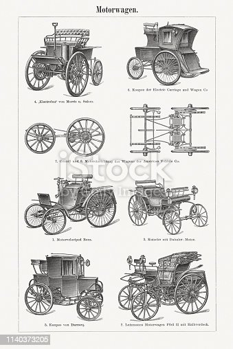 Historic automobiles with gasoline, steam and electric drive. European and American mobile cars. Wood engravings, published in 1898.