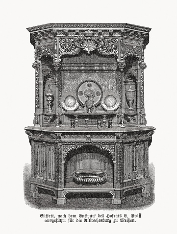 Historic buffet cabinet, wood engraving, published in 1893
