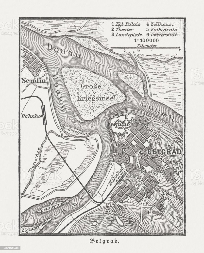 Historic city map of Belgrade, Serbia, wood engraving, published 1897 vector art illustration