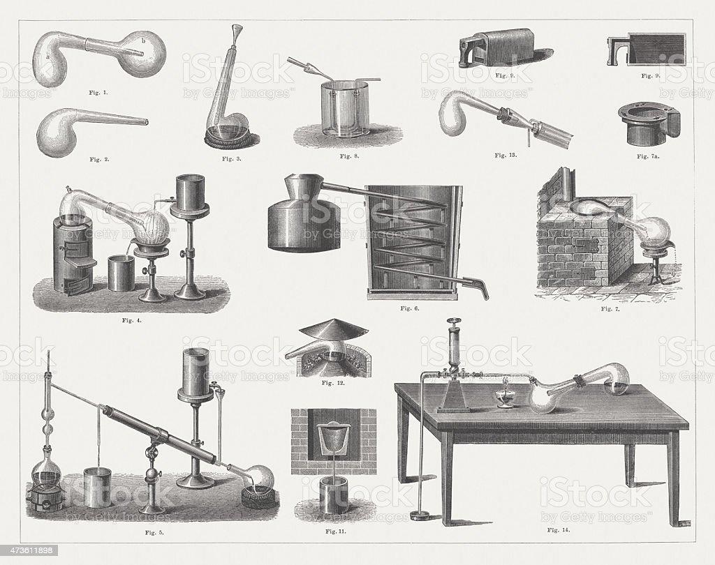 Historic Distillation Equipment, wood engravings, published in 1875 vector art illustration
