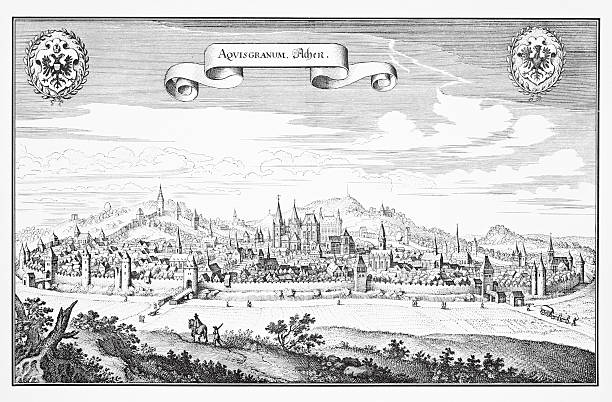 Historic engraving of Aachen, Germany Historic view of Aachen , Germany around the year 1640. lachen stock illustrations