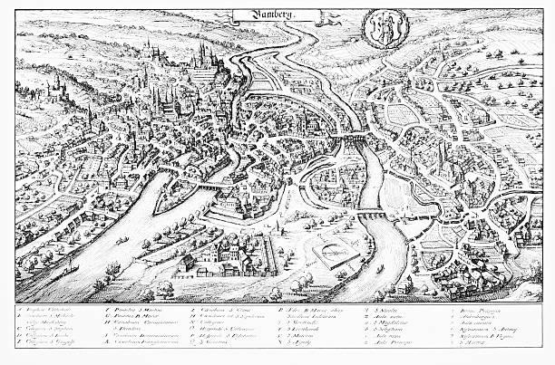 historische gravur von bamberg, deutschland - hajohoos stock-grafiken, -clipart, -cartoons und -symbole