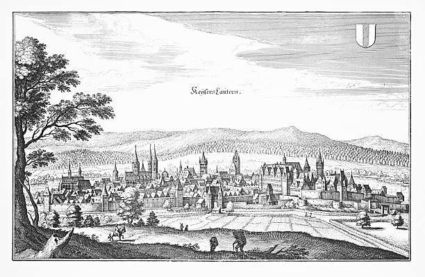 historische gravur von kaiserslautern, deutschland - hajohoos stock-grafiken, -clipart, -cartoons und -symbole