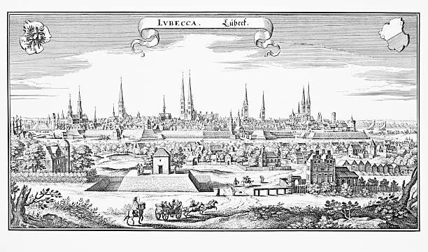 historische gravur von lübeck, deutschland - hajohoos stock-grafiken, -clipart, -cartoons und -symbole