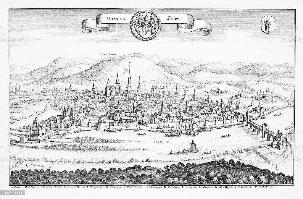 Historic engraving of Trier, Germany royalty-free historic engraving of trier germany stock vector art & more images of black and white