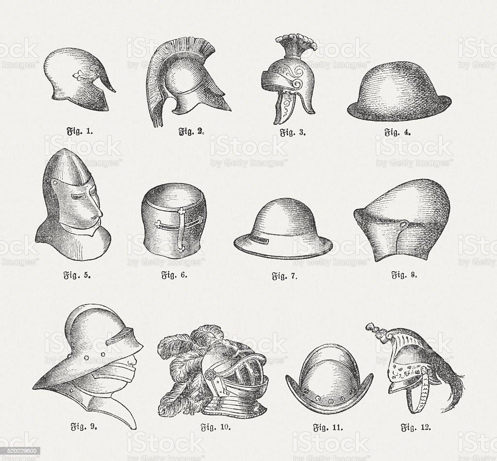 Historic helmets, wood engravings, published in 1884 vector art illustration