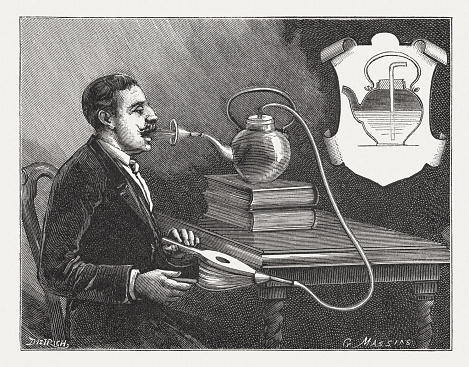 Historic inhalation device for self-use. Wood engraving, published in 1895.