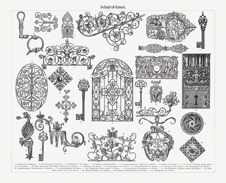 Historic ironwork: 1) Ancient Roman key; 2) Door hinge (15th century); 3) Door knocker (16th century); 4) Gothic decorative cover on the keyhole; 5) banister (Danzig, 16th century); 6) Lock (17th century); 7, 13, 16, 20) Key (France, 17th and 18th century); 8) Iron grate over a garden door (Nuremberg, 17th century); 9) Door hinge (15th century); 10) Window grill (17th century); 11) Diamond Rosette for door handle (15th century); 12) Steeple cross with weathercock (15th century); 14) Window grill (18th century); 15) Open-work chest lid (16th century); 17) Renaissance decorative cover on the keyhole (16th century); 18) Door lock (France, 17th century); 19) Torch holder (Italy, 15th century); 21) Wall chandelier (Germany, 18th century); 22) Door grill (France, 18th century), 23) Guild house sign (18th century); 24) Gothic decorative cover on the keyhole (15th century); 25) Door knocker (15th century). Wood engravings, published in 1897.