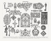 Historic ironwork (gothic-, renaissance-, baroque-style), wood engravings, published 1897
