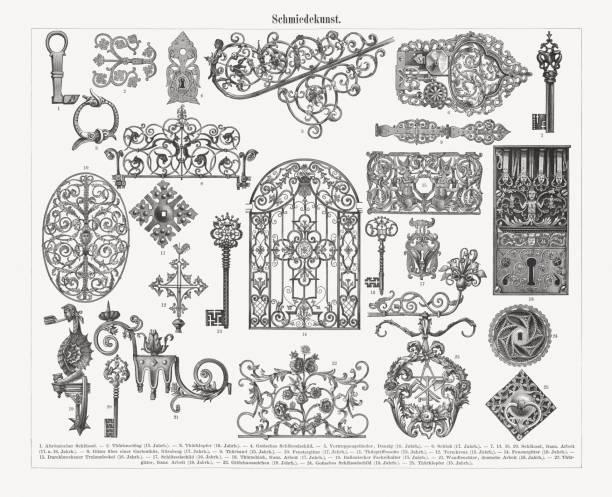 역사적인 철 (고딕, 르네상스, 바로크-스타일), 나무 조각, 1897 출판 - 노커 stock illustrations