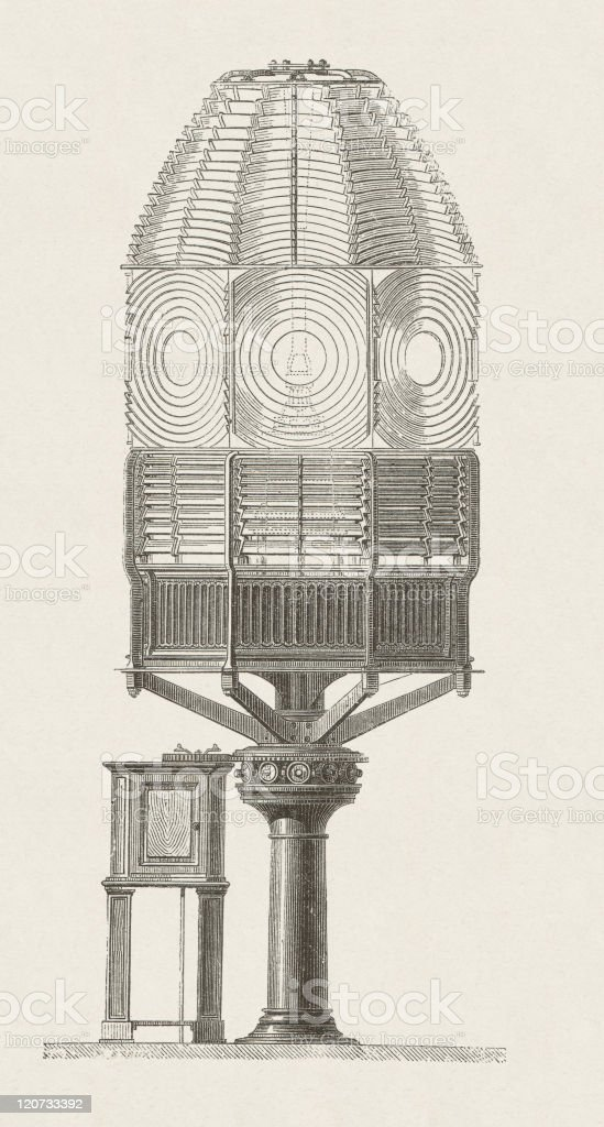 Historic lighting apparatus with Fresnel lenses for lighthouses, published 1877 royalty-free stock vector art