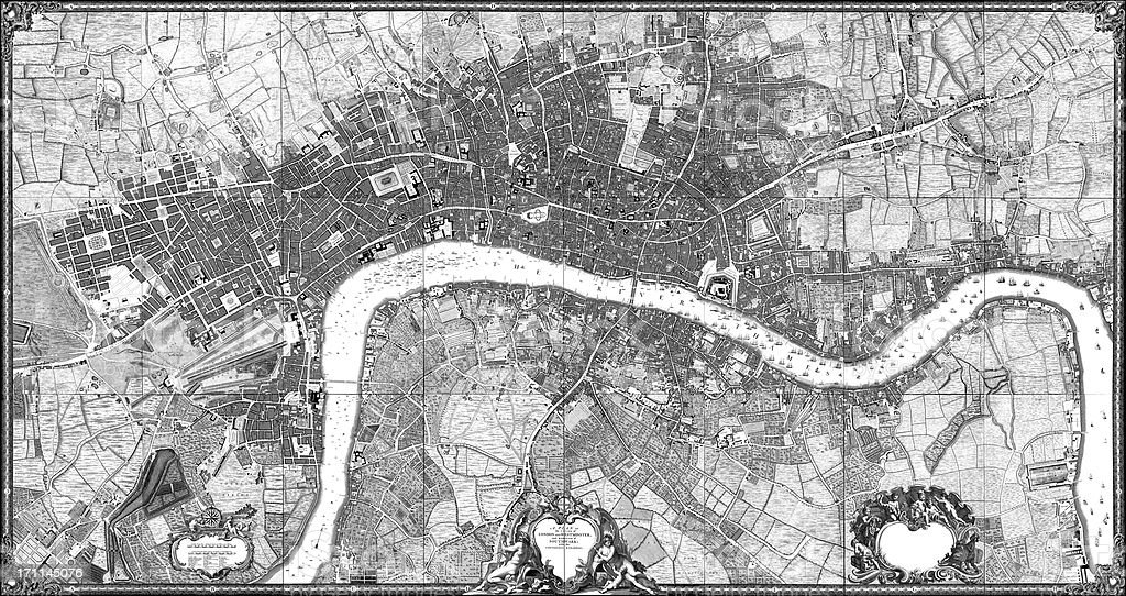 Historic map of London (18th Century) vector art illustration