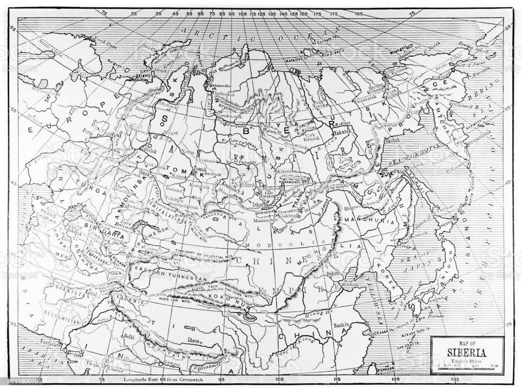 Historic Map of Siberia / Russia / China / Europe vector art illustration