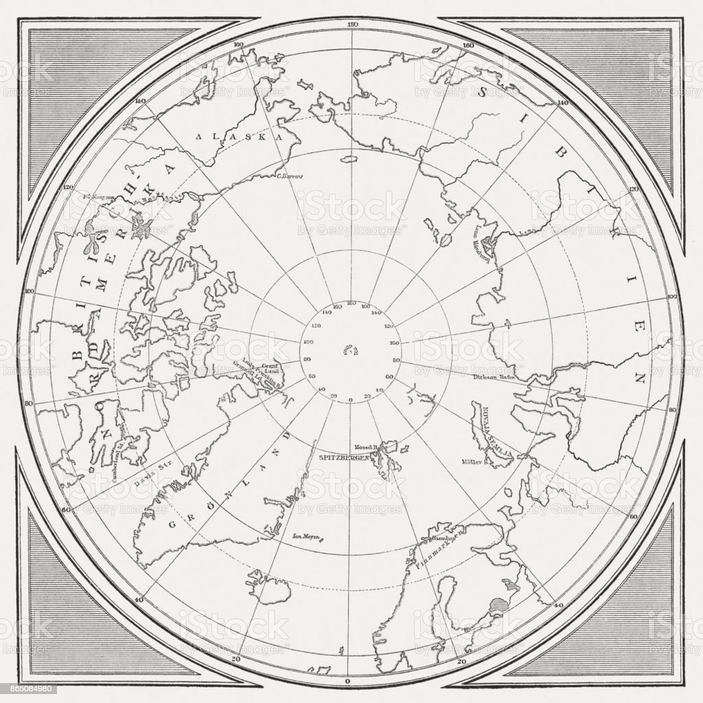 Historic Map of the Arctic, wood engraving, published in 1882 vector art illustration