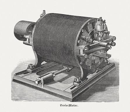 Historic Tesla motor with 12 Poles, wood engraving, published 1898