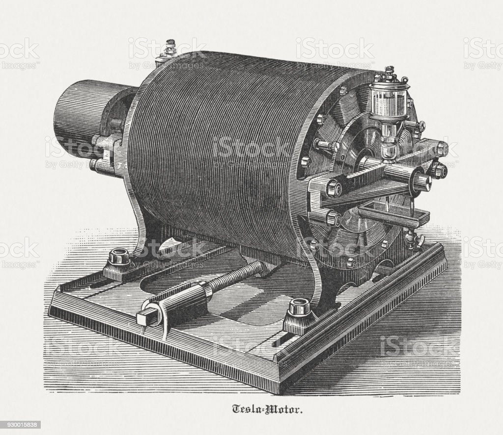 Historic Tesla motor with 12 Poles, wood engraving, published 1898 vector art illustration