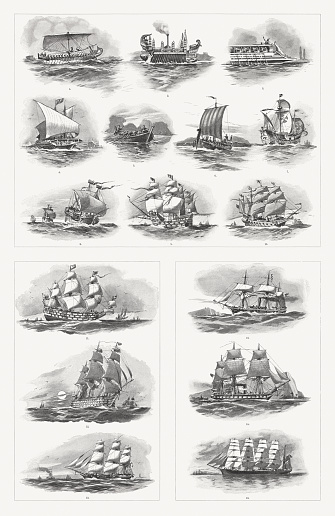 Historic types of ships from antiquity to the 19th century
