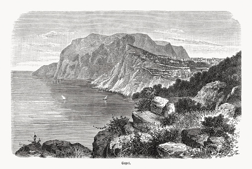 Historic view of Capri, Italy, wood engraving, published in 1893