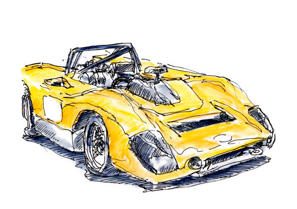 Historic Yellow CanAm Racecar Ink Drawing and Watercolor Historic Yellow CanAm Racecar. Fountain Pen Ink Drawing and Watercolor Pencils. Drawn on location. motor sport stock illustrations