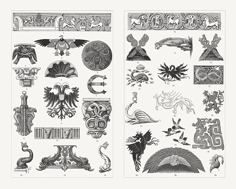 Historical animal ornaments, wood engravings, published in 1897