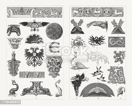 Historical animal ornaments: 1) Relief with griffins and chimeras from Apollo temple in Miletus (Didyma); 2) Vulture (egyptian); 3) Double eagle (Mycenae); 4) Polyp (Mycenae); 5) Unicorn capital (Persepolis); 6) Shell (baroque style); 7) Medieval fish initial; 8) Double eagle phial (11th century); 9) Heraldic double eagle; 10) Romanesque dragon capital (Gelnhausen); 11) Ox skull frieze; 12 + 14) Dolphin (French renaissance); 13) Dolphins, iron work (German renaissance); 15) Romanesque animal frieze (11th century, Gernrode church); 16) Horseheads (old saxon gable cross); 17) Gothic gargoyle (Magdeburg Cathedral); 18 Chamois heads (old saxon gable cross); 19) Salamander emblem on the coat of arms of Francois Ler at a chateau at Blois; 20) Pelican (renaissance); 21) Dragon pattern (Celtic manuscript, 8th century); 22) Dragon as candle holder (medieval); 23) Japanese dragon; 24) Heraldic lion; 25) Dragon (medieval textile); 26) Chinese dragon; 27) Group of birds (Japanese); 28) Hair comb with bird ornament (Japanese); 29) Swan (medieval helmet ornament). Wood engravings, published in 1897.