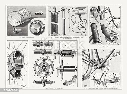 Historical bicycle utensils, top row: Portable revolution counter; Air pump, adjustable saddle, massage apparatus; odometer. Bottom row: Pneumatic wheel hub; Bicycle props and new systems; Boudouard gear. Wood engravings after drawings by Louis Poyet (French illustrator and engraver, 1846 - 1913), published in 1895.