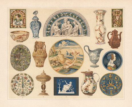 Historical ceramics, Chromolithograph, published in 1897