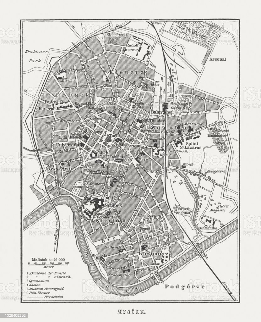 Map Of Germany Krakow.Historical City Map Of Krakow Poland Wood Engraving Published 1897