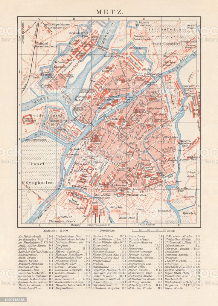 Historical City Map Of Metz France Lithograph Published In 1897