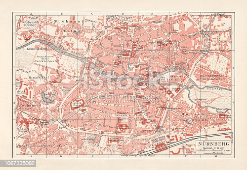 Historical city map of Nuremberg, Bavaria, Germany, lithograph, published 1897