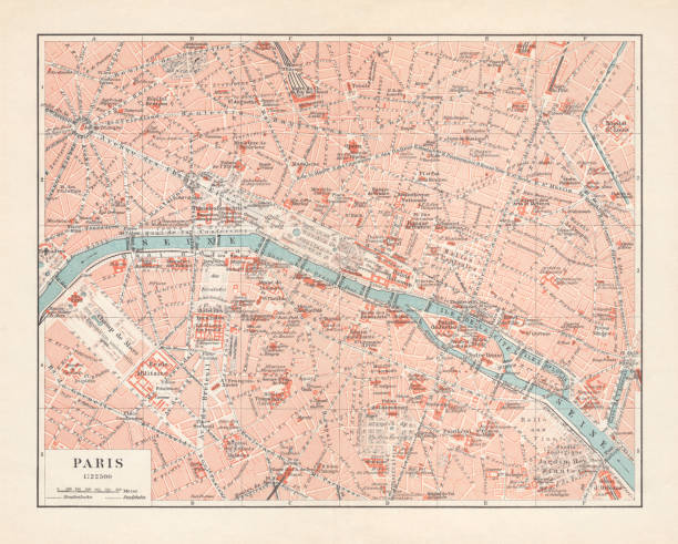 Historical city map of Paris, France, lithograph, published in 1897 Historical city map of Paris, capital city of France. Lithograph, published in 1897. seine river stock illustrations