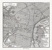 Historical city map of Philadelphia, Pennsylvania, USA. Wood engraving, published in 1897.