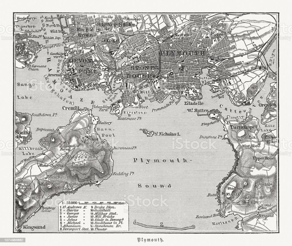 Map Of England Plymouth.Historical City Map Of Plymouth Devon England Woodcut Published 1897