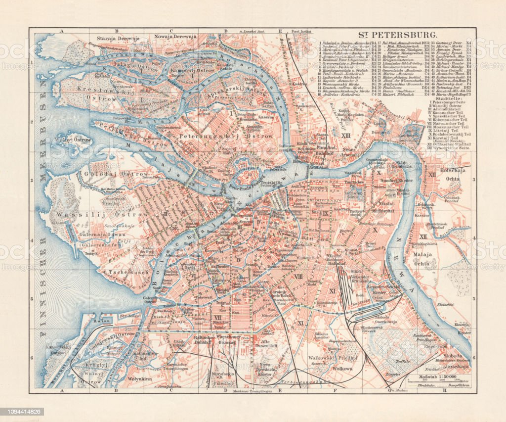 Historical City Map Of Saint Petersburg Russia Lithograph Published