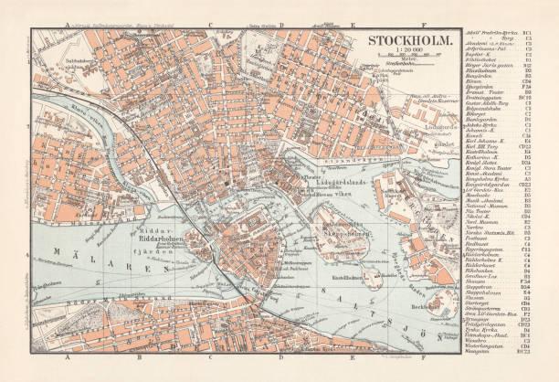 bildbanksillustrationer, clip art samt tecknat material och ikoner med historiska stadskarta stockholm, huvudstaden i sverige, litografi, publicerad 1897 - stockholm