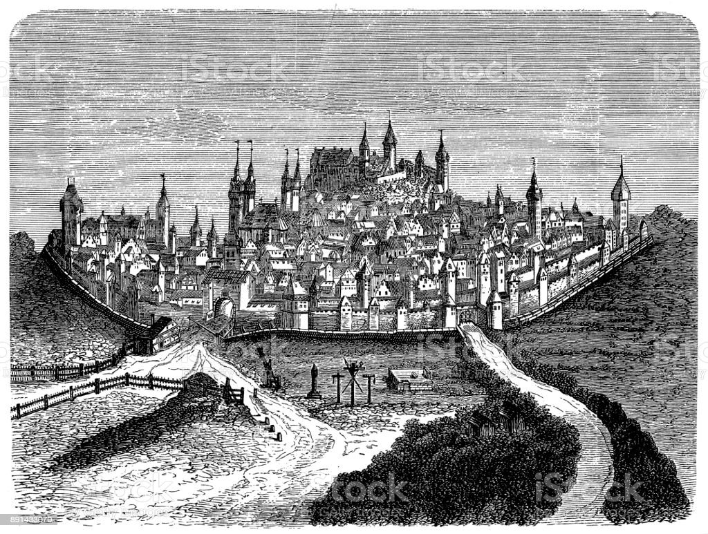 Historical cityscape of Nuremberg, 16th century, Germany, Europe vector art illustration