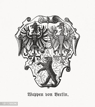 istock Historical coat of arms of Berlin, wood engraving, published 1893 1311295090