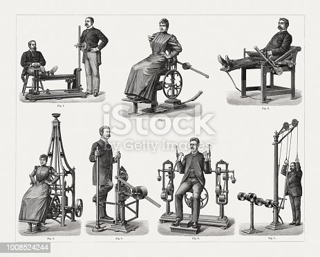 Historical devices for the support of remedial gymnastics: 1) Vibration; 2) Side bending of the upper body; 3) Bending the knee; 4) Upper body stretching; 5) Hip knee stretching; 6) Bend forearm; 7) Arms sinking and upper body bending. Wood engravings, published in 1897.