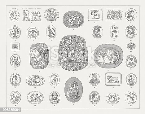 Engraved gems and cameos: 1) Ancient indian gem (700 - 900 AD); 2) Priest and King guarded by two lions - Babylonian-Persian cylinder gem; 3) Five out of seven against thebes (Oedipus Trilogy) - Etruscan gem; 4) Greek cameo of Athenion (Greek mythology); 5) Horse with Egyptian winged sun disk - Ancient Greek cylinder gem; 6) Animal sacrifice ritual - Assyrian cylinder gem; 7) Persian gem; 8) Abraxas gem; 9) Thanatos and Semele - Etruscan glass flux; 10) Egyptian cameo; 11) Athena - Greek gem by Aspasios (1st century BC); 12) Flat base of an Egyptian scarab amulet with the inscription Thutmose III; 13) Zeus after the victory over the giant - Ancient Greek cameo; 14) The death of the holy martyr (Diocletian era) - Roman-Early Christian gem; 15) Cameo Gonzaga (3rd century BC); 16) Egyptian gem; 17) Great Cameo of France (1st century AD); 18) Seal of Michelangelo; 19) Ancient cameo (Berlin, Germany); 20) Alaric I - Gothic gem; 21) Two nymphs crown a Pan figure - Gem by Giovanni Pichler (1734 - 1791); 22) Gem from Cerbara (Piagge, Italy); 23) Gem of Pericles, engraved by N. Marchant (? - 1812); 24) Gem of François I and the battle of Marignan, attributed to Matteo Dal Nassaro (around 1515); 25) Italian gem of a lion (16th century); 26) Saint George - Byzantine gem; 27) Thetis watching as Hephaestus makes armor for Achilles (Greek Mytholog), engraved gem by Alexander Calandrelli  (1834 - 1903); 28)  29) Gem of Homer, engraved by Giovanni Pichler (1734 - 1791); 30) Shell cameo of Hendrick Goltzius and Henry (IV) the Great, engraved by Julien de Fontenay, named Coldoré (ca. 1540 - 1610); 31) Gem of Apollo, engraved by Jacques Guay (1711 - 1793); 32) Gem of Amor und Satyr, engraved by William Brown; 33) Minerva - Gem, engraved by Roman-Vincent Jeuffroy (1749 - 1826). Wood engravings, published in 1897.