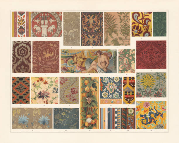 Historical fabrics (antiquity to the 19th century), chromolithograph, published 1897 Historical fabrics: 1) Ancient Egyptian pattern of cloth; 2) Roman fabric (400 AD); 3) Silk fabric from the tunic of Henry II (11th century); 4) Byzantine fabric (12th century); 5) Italian silk fabric (13th century); 6-8) Velvet (15th century); 9+13) Velvet (16th century); 10) French gobelin (17th century); 11) Silk fabric (17th century); 12) Burgundy velvet (16th century); 14) French silk fabric (18th century); 15) French fabric made from silk and wool (18th century); 16) Persian carpet (16th century); 17) Ancient Arabian fabric; 18) Silk fabric (17th century); 19) Silk fabric (18th century); 20) Japanese fabric; 21) Gobelin (16th century); 22) Indian cotton carpet; 23) Border of a Kashmir shawl; 24) Chinese silk fabric. Chromollithograph, published in 1897. tapestry stock illustrations