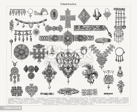 Historical jewelry: 1) Ancient Egyptian necklace; 2) Ancient Egyptian earring; 3) Ancient fibula; 4) Italian hat agraffe (15th century); 5) Romanesque cross in the Monza Cathedral; 6) Coat clasp (13th century); 7) Indian earring; 8) Moorish eardrops; 9) Part of a Bulgarian necklace; 10) Antique finger ring; 11-12) Etruscan necklace; 13) Italian hat agraffe (14th century); 14) Franconian fibula; 15) Part of a women's belt (14th century); 16) Belt lock (renaissance); 17) Arabic bracelet; 18) Antique needle; 19) Fibula of Tuttingen (5th century); 20) Necklace (Hiddensee, 10th century); 21) Signet (17th century); 22) Ring from the time of Henry II of France; 23) Indian necklace ; 24) Oriental eardrops; 25) Part of a Norwegian necklace; 26) Dutch piece of jewelry; 27) Pendant, designd by Hans Holbein the Younger; 28) Brooch (renaissance); 29) Brooch (18th century); 30) Pendant, designd by Du Cerceau (France); 31) Oriental eardrops; 32) Dutch belt lock; 33) key hook board (17th century); 34) Part of a chain (17th century); 35) Brooch (18th century); 36) Part of a chain (17th century); 37) Part of a chain (18th century); 38) Eardrops (18th century). Wood engravings, published in 1897.