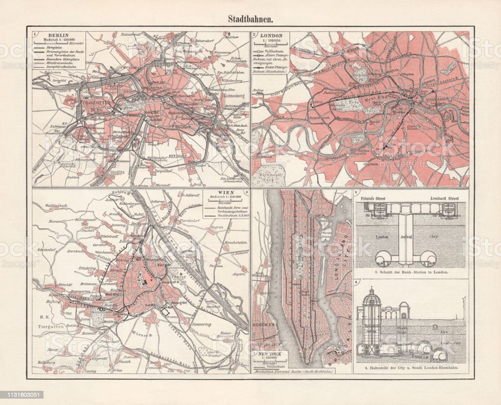 London Light Rail Map.Historical Lightrail Plans Berlin Vienna London New York Lithograph