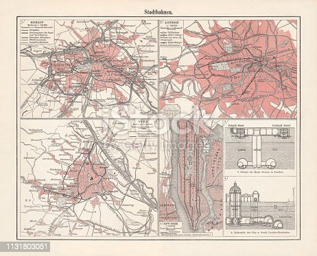 Historical light-rail plans: Berlin, Vienna, London, and New York. Lithograph, published in 1897.