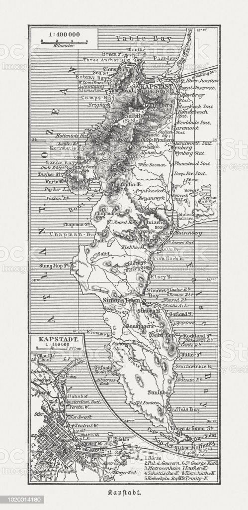 Historical Map Of Cape Town South Africa Wood Engraving Published ...