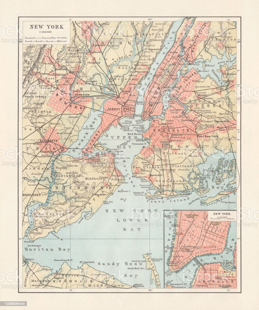 New York City On Map Of Usa.Historical Map Of New York City Usa Lithograph Published 1897 Stock Illustration Download Image Now
