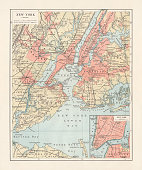 Historical city map of New York City, USA. Lithograph, published in 1897.