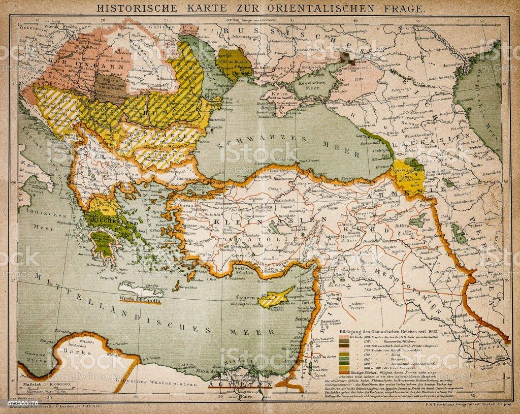 Mapa histórico da parte Oriental do mundo - ilustração de arte em vetor